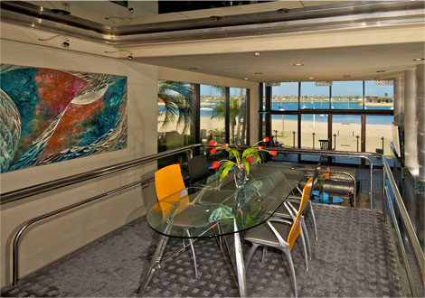dining room with bay view