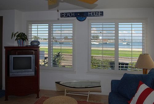 living room with bayview